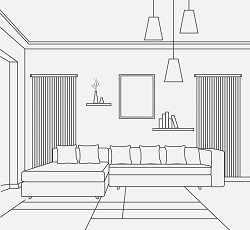 План помещения и дизайнерское решение с вентиляцией