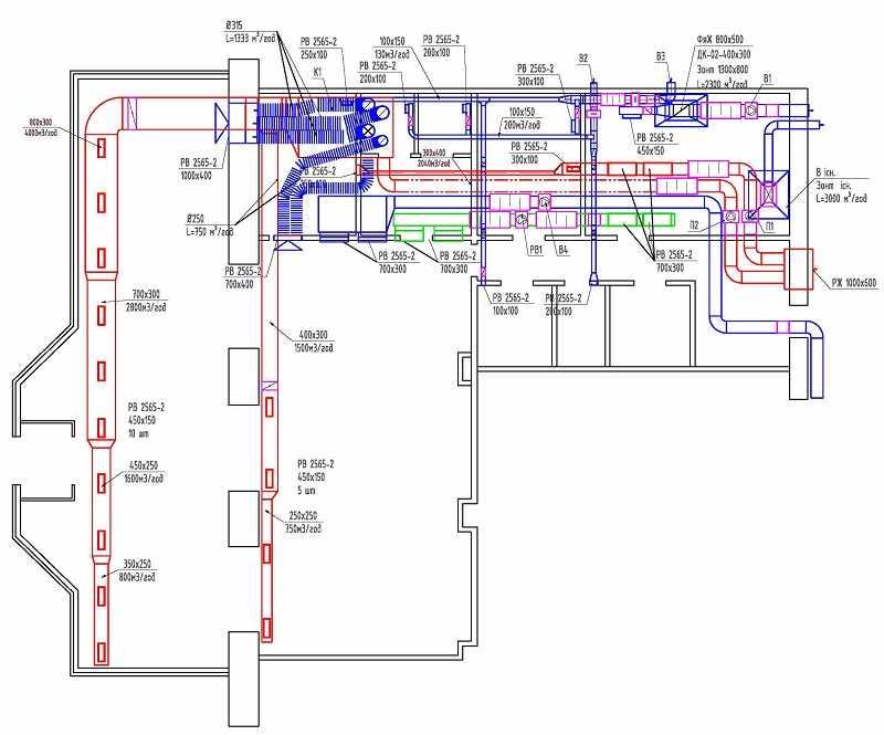 План-схема вентиляции и кондиционирования ресторана