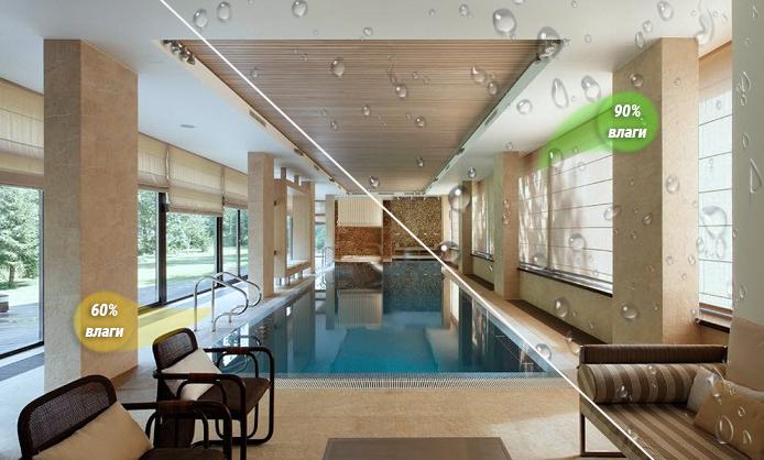 Как бороться с повышенной влажностью в помещении с бассейном