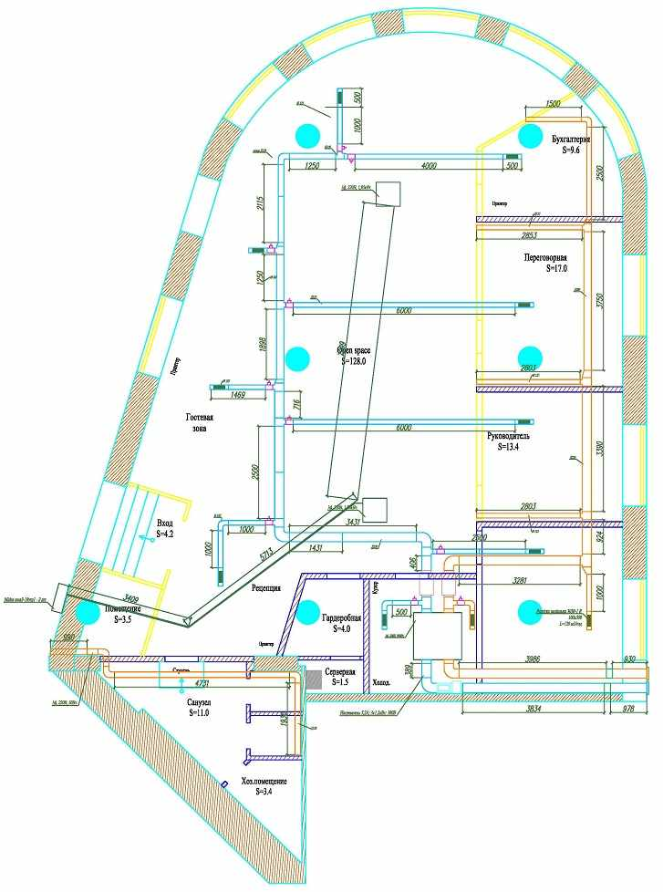 Проект вентиляции с кондиционированием для офиса - схема