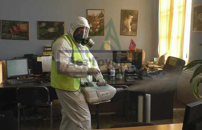 Проведение дезинфекции офисных помещений службой СЭС
