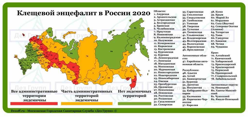 Карта по эндемичным районам по клещевому энцефалиту 2020