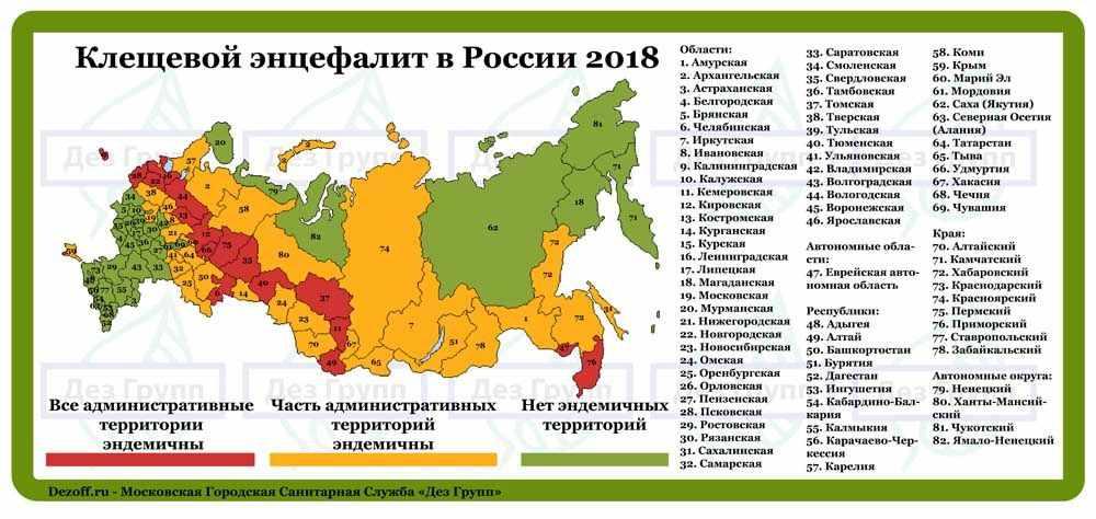 Эндемичные районы по клещевому энцефалиту 2018: самыми опасными районами также остаются Дмитровский и Талдомский районы.